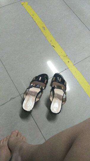 古来登同款凉鞋女夏2017新款高跟韩版一字粗跟露趾百搭凉拖 黑色 37 晒单图