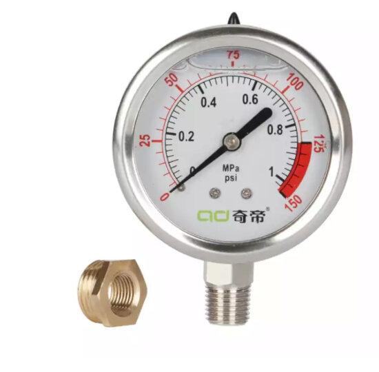 净水器水压测试表  自来水压力表 不锈钢材质水压表检测仪充油防震 自来水压力测试仪表 10公斤单表不含配件 晒单图