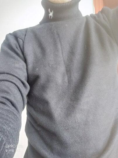 z+dt高领毛衣加绒2017大码男装新款针织衫男韩版套头修身学生上衣加厚打底衫 酒红色(M188加绒) XL 晒单图