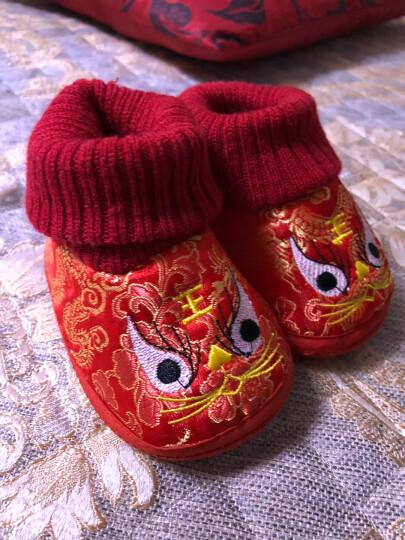 婴儿学步鞋宝宝鞋条绒面虎头鞋软底婴儿鞋0-1岁婴儿棉鞋配唐装满月百岁礼 虎头红 高腰 (13码 鞋内长12cm) 晒单图
