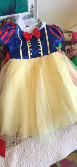 沐仝邨  万圣节白雪公主裙女童儿童节主持表演服装礼服蓬蓬裙连衣裙cosplay 圣诞裙 鹅黄+宝蓝 130cm赠品4件套 晒单图