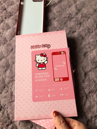 Hello Kitty 苹果iPhone8/7 Plus钢化膜 全覆盖卡通手机保护贴膜 3D软边防碎彩膜 棉花糖凯蒂 红色 晒单图