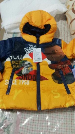 史努比(SNOOPY) snoopy史努比2017新款冬装儿童装羽绒服男童羽绒厚外套 小脏孩桔配枣红 100 晒单图
