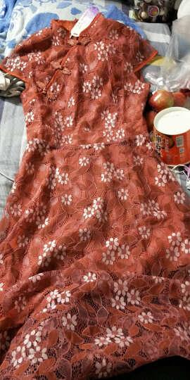 艾慕琳改良旗袍蕾丝连衣裙短袖2018春夏新款性感优雅网纱拼接喇叭袖百褶裙B25 焦糖色 L 晒单图