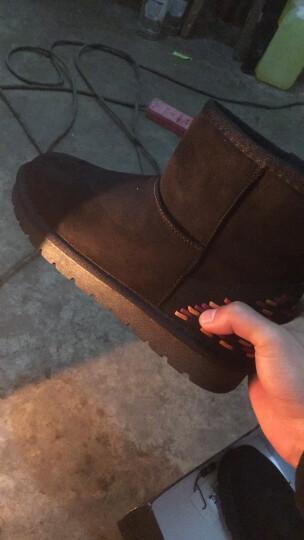 莱卡金顿短靴女2018秋冬新款加绒雪地靴圆头平跟女靴套筒纯色短靴大码女鞋 6345黑色 35 晒单图