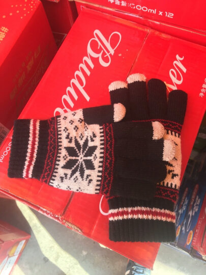 艾可娃(IKEWA)ST001 五指针织手套男女雪花图案秋冬天双层保暖毛线手套 黑白色 晒单图