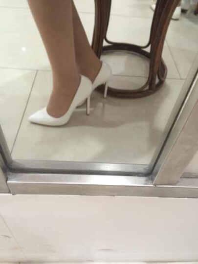可情小美 欧美春夏款时尚OL职业女超高跟鞋 糖果色漆皮尖头婚鞋 夜店性感细跟单鞋 10cm 黑色 36 晒单图
