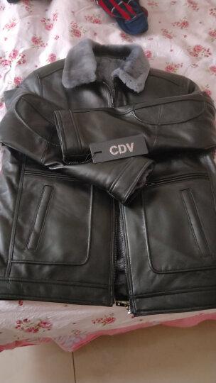 CDV新款皮毛一体男装真皮皮衣尼克服 羊毛翻领真皮夹克男皮草修身厚款皮衣 黑色 180/2XL 晒单图