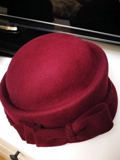帽子女秋冬韩版羊毛毡帽优雅时尚贝雷帽英伦定型帽冬帽休闲 黑色2-2-13 M(56-58cm)可调节 送帽撑 晒单图