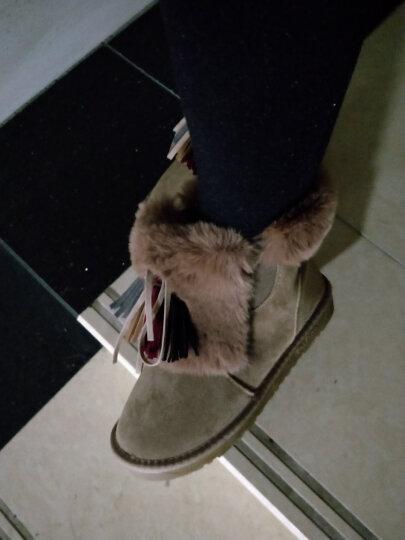雪地靴女真牛皮加厚绒保暖防滑圆头短靴女平底保暖棉鞋 栗色(标准码数) 37 晒单图