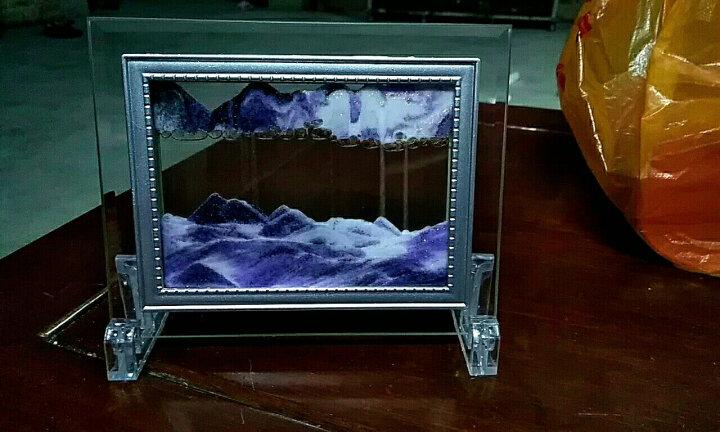 创意生日礼品玻璃工艺品 微景观摆件沙漏 动态艺术流沙画 有支架装饰画 公司年会新年小礼品 紫色 晒单图