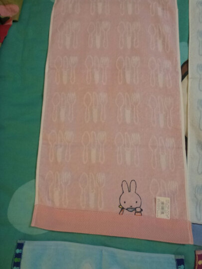 金号 无捻提缎绣花卡通米菲兔纯棉面巾 MF1048WH 红蓝两条装 晒单图