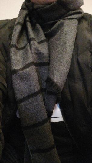 杰尚维格男士围巾冬季桑蚕丝时尚保暖围巾流苏款 礼盒装 深灰色 晒单图