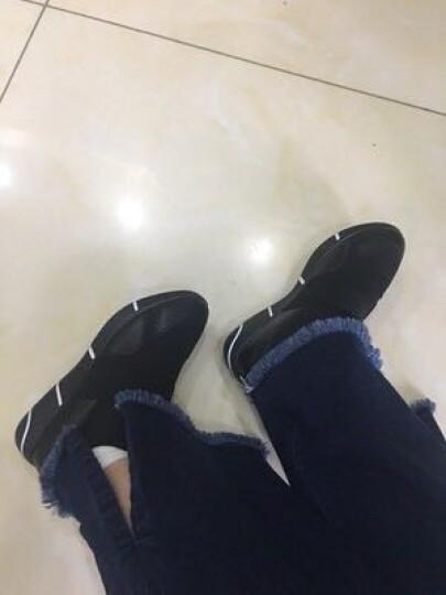 古奇天伦平底休闲鞋女春秋大码轻便户外学生鞋套脚运动女鞋 8819 铅色 37 晒单图