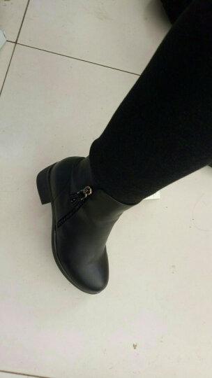皇美婷短靴女加绒粗跟女靴子2019冬季新款中跟大码女鞋韩版时尚短筒马丁靴女 1522黑色 36 晒单图