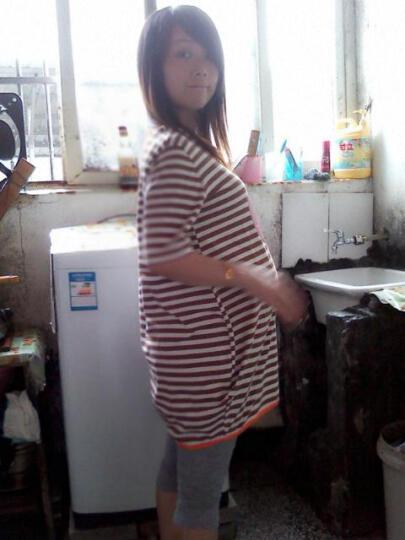 蚕坊俪  孕妇装 夏装套装 条纹棒棒糖短袖上衣 七分打底裤 可爱宽松大码 巧克力条纹短袖 均码 晒单图