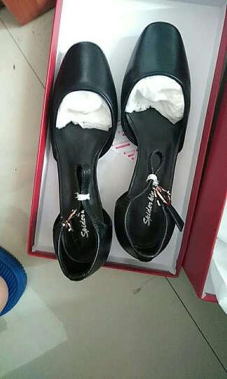 蜘蛛王女鞋女凉鞋夏季新款凉鞋女士方头粗跟搭扣中跟包头皮鞋子03017 黑色 40 晒单图