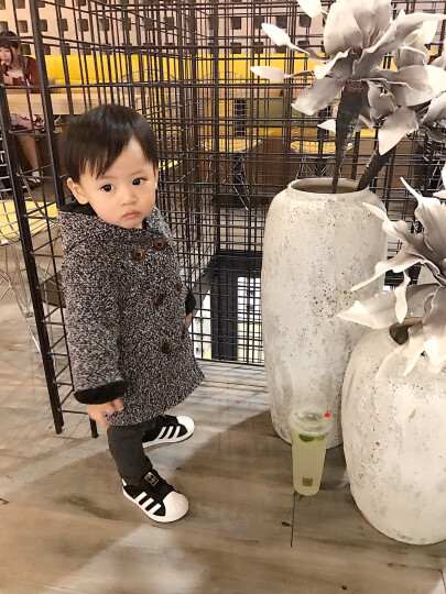 迪西熊童装2018新款秋冬装儿童风衣男童毛呢外套韩版加厚呢大衣2-3-4-5-6岁宝宝加绒外套潮 灰色#小童大嘴毛呢外套 90码 晒单图