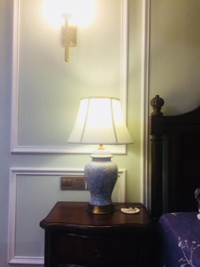 圣玛帝诺 美式床头灯陶瓷台灯客厅卧室床头书房台灯新中式彩绘祥云台灯 AV-1287蓝色按钮 晒单图