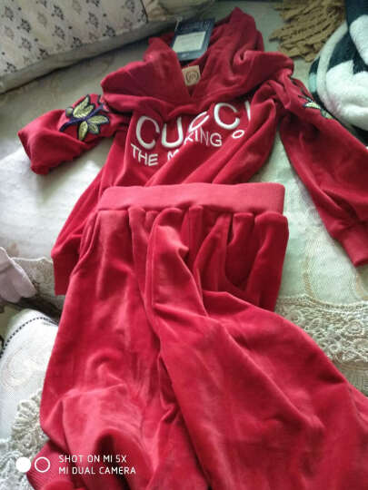 巴士小鸭  童装女童套装春季金丝绒两件套2018新款儿童中大童春秋运动卫衣 红色 140码(适合126-135cm) 晒单图