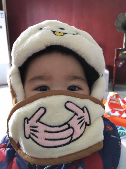 卡通可爱孩子帽子 韩版宝宝婴儿童男女雷锋帽冬季加绒保暖护耳帽带口罩两用帽子0-5岁用 小耳朵咖啡色 5岁(需要量头围52以内) 晒单图