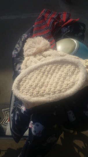 哲时 冬季女士毛线针织帽子加厚保暖帽口罩围脖骑车遮脸护耳帽MZ1304 卡其色 均码适合55-60头围 晒单图