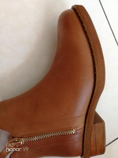 Teenmix/天美意冬牛皮时尚铆钉简约优雅方跟女短靴CA940DD7 棕色 37 晒单图