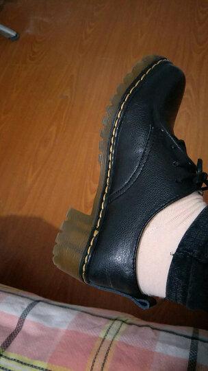 金鸿森单鞋女真皮春秋新款女皮鞋孕妇中跟平底女单鞋英伦学生休闲鞋女 D128 酒红色 36码 晒单图