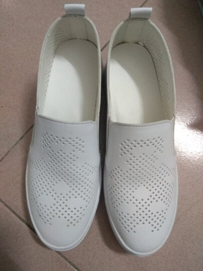 PHOMICH新款春夏季小白鞋女鞋休闲鞋女士平底单鞋大码护士鞋时尚镂空乐福鞋板鞋女 白色 36 晒单图