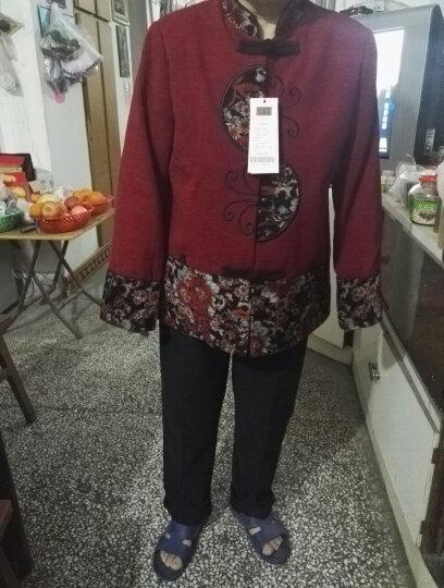 【清】奉孝中老年女装春装外套妈妈装毛呢唐装富贵喜庆老年人女装 红色(上衣+裤子) 4XL(建议150-165斤) 晒单图