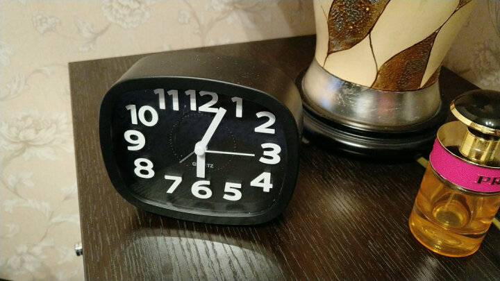 汉时钟表 电子闹钟 学生床头钟卡通桌钟创意儿童小台钟静音懒人闹表石英钟HA07 黑色4寸 晒单图