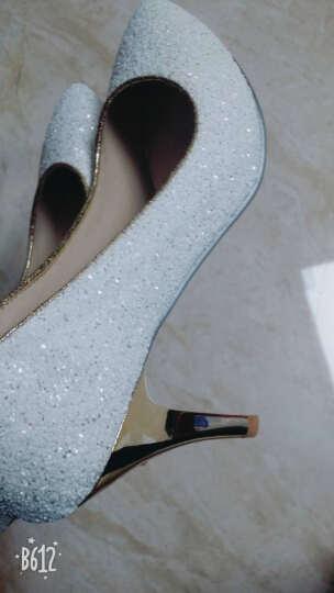 帛屐2019欧美高跟鞋女性感百搭水晶鞋新款结婚伴娘鞋尖头女细跟晚礼服宴会高跟单鞋 绿色5cm 38 晒单图