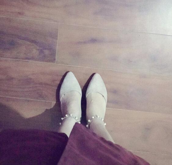 香香莉尖头高跟鞋女细跟2018秋季新款水钻浅口单鞋子女酒杯跟时尚职业通勤女鞋 28690咖啡色 37 晒单图