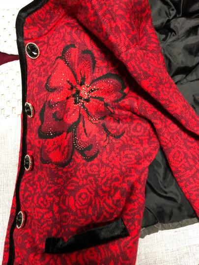鄂爾多斯市产女装旗舰店羊绒衫女2017冬季新品中老年羊毛保暖开衫打底衫 红色 XL 晒单图
