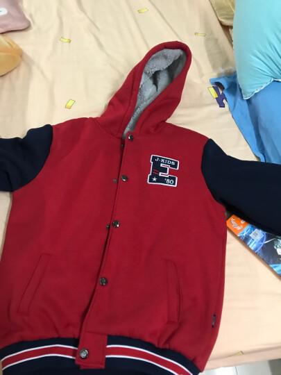 亚卡比童装男童秋冬外套新款中大童上衣儿童外套加绒加厚卫衣开衫潮 枣红 175cm 晒单图