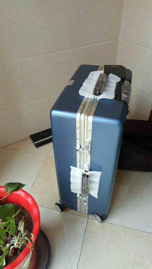 SWISSGEAR 24英寸铝框拉杆箱旅行箱 大容量万向轮静音TSA海关密码锁行李箱皮箱 镜面条纹 SA-7124 玫瑰金 晒单图