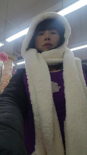 林洛蝶 秋冬羊羔绒连帽毛绒加厚围脖围巾帽子手套一体带口袋韩版保暖可爱 帽子围巾手套一体白色 晒单图