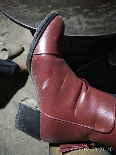 古奇天伦短靴女真皮秋冬新款时尚马丁靴圆头粗跟女靴系带英伦简约休闲大码女鞋 酒红色 36码 晒单图