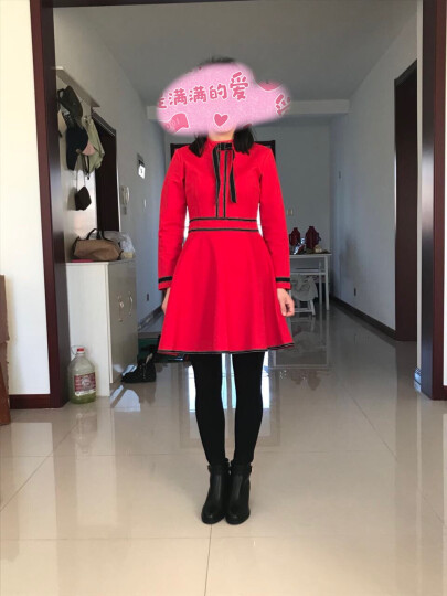 鱼丫头红色连衣裙女装长袖秋冬季新款加绒收腰显瘦a字打底裙子 黑色7分袖 XL(建议115-125斤) 晒单图