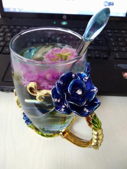 馨沐鱼 珐琅彩水杯花茶杯果汁杯耐热水晶玻璃杯礼盒装生日礼物 矮款玫瑰红色+水滴勺 晒单图