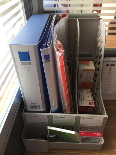 创易文件架 文件夹 文件框 加厚文件座  文件栏  办公用品 三栏带收纳盒CY6399蓝色 晒单图