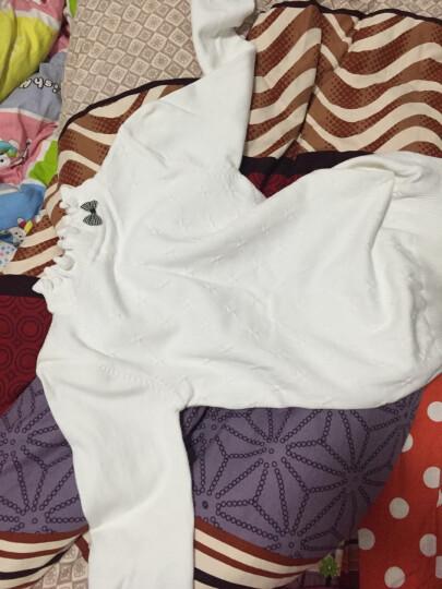 小咕嘟熊 童装女加绒加厚上衣秋冬装打底衫休闲儿童女童毛衣 白 色 150 晒单图
