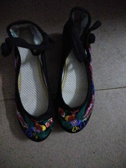 春夏新款老北京绣花布鞋 民族风牛筋底坡跟广场舞女鞋中帮帆布单鞋WQ-YBY-宫锁珠帘 黑色 35 晒单图