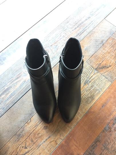 高跟鞋女加绒冬季新品圆头细跟女短靴 侧拉链金属装饰女靴 防水台女靴子 黑色 37 晒单图