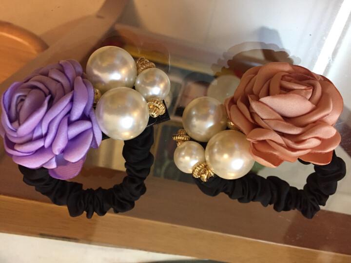 父爱饰品 时尚大花朵珍珠发圈皮筋发绳发饰 百搭扎头发头绳头饰 紫色 晒单图