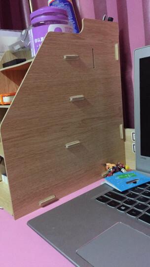 得力木质文件架资料框收纳盒办公用品文件夹子多层学生用简易桌上书架木制文具办公室抽屉式书立置物架 四联木质带笔筒  79221 晒单图