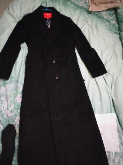倾特 方领纯羊毛呢大衣女装2019冬新款欧美系带超长款修身羊绒呢子有兜外套HB8915 黑色 XL 晒单图