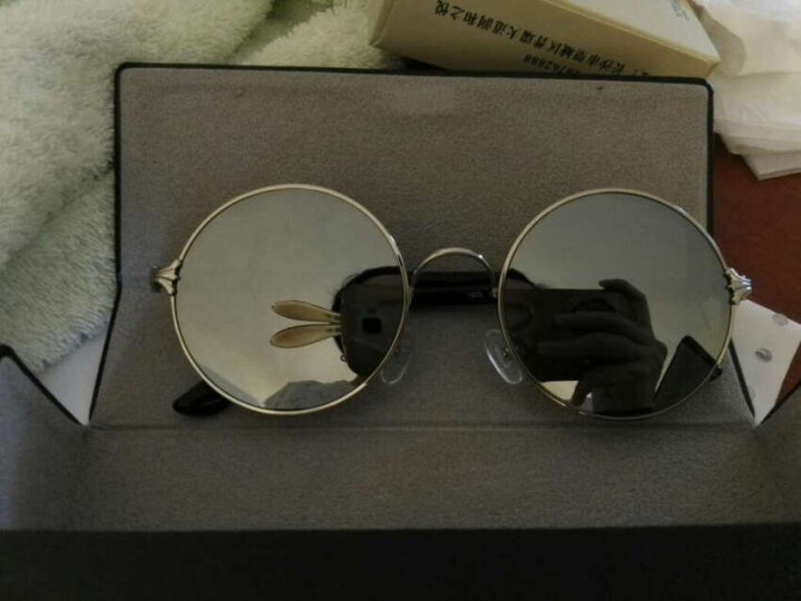 音米(INMIX) 太阳镜男女款圆脸偏光镜圆框太子镜复古潮人方脸明星同款墨镜 1203 银框银片+升级版 晒单图
