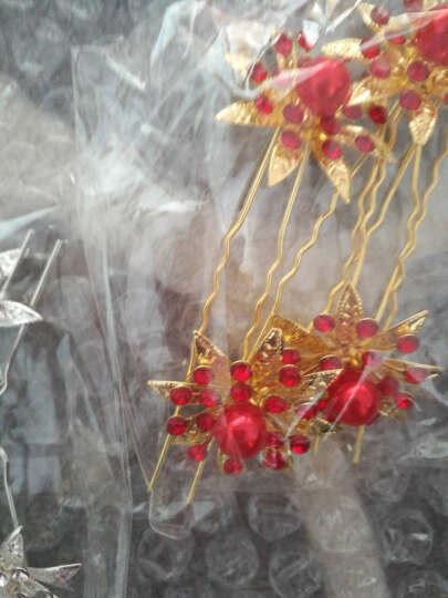 噜噜宝发饰 新娘头饰金色簪子u型插针古装古典红色白色发簪旗袍礼服配饰 红色4支装 晒单图