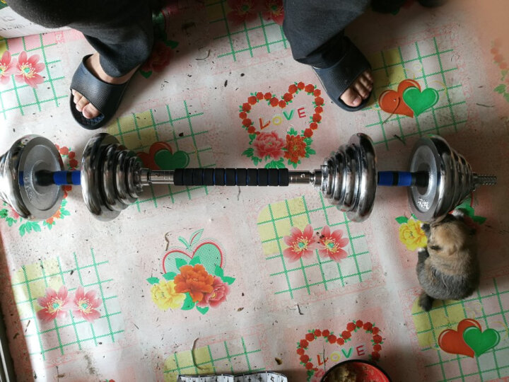 超级教练 电镀哑铃可拆卸电镀哑铃 杠铃 家用健身 健身器材 40KG=20KG*2(送35CM泡棉连接杆) 晒单图
